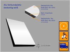 Verbundplatte, Alu(Kern)Alu, weiß/weiß