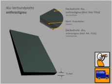 Verbundplatte, Alu(Kern)Alu, anthrazitgrau/anthrazitgrau