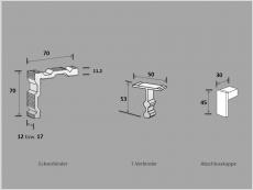Eckverbinder f. Alu-Rahmenprofil 6 bzw.10