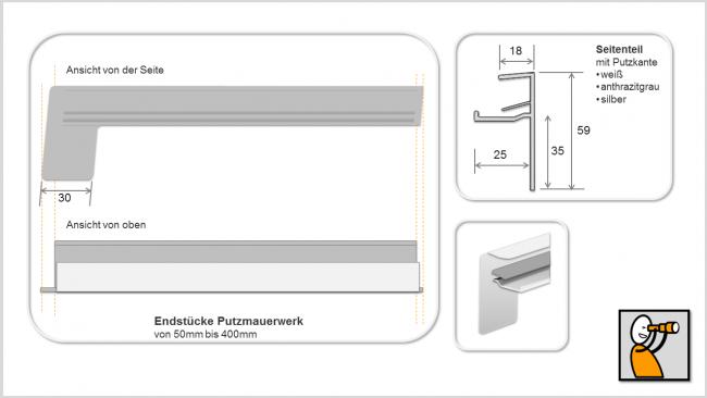 Endstücke f. Aluminium-Fensterbank